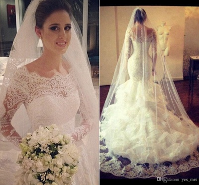 Gorgeous Wedding Dresses Cheap Lace Mermaid Long Sleeve Bridal Gowns with Wedding Veil_3