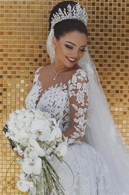 Luxury Beaded Mermaid Wedding Dresses with Sleeves | Illusion Tulle Lace Appliques Bridal Dresses_3