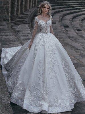 Elegante lange Ärmel Ball Brautkleider | 2021 Lace Sexy Brautkleider_1
