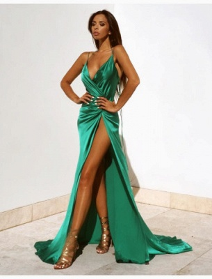 Spaghetti Strap V-Neck Cheap Party Dresses | Latest Side Split Formal Gown AE0105_4