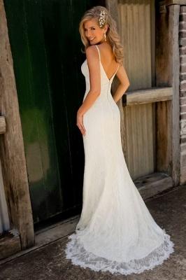 Sexy Mermaid Lace Wedding Dresses Spaghetti Strap Long Bridal Gowns_3