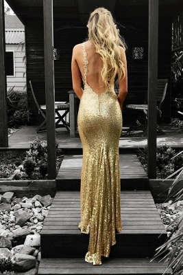 Sexy Sequined Mermaid Sleeveless Prom Dress   Gold Prom Dress_3