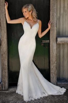 Sexy Mermaid Lace Wedding Dresses Spaghetti Strap Long Bridal Gowns_1