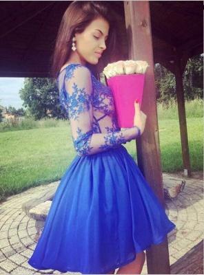 Newest Lace Royal Blue Short Long Sleeve Homecoming Dress_4