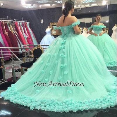 Mint-Green Off-The-Shoulder Ball-Gown Rose-Flowers Cloud Prom Dresses_1