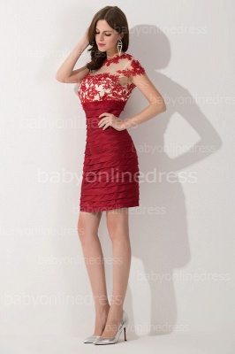 Elegant Short Sleeves Lace Applqieus Short Prom Dress On Sale_3