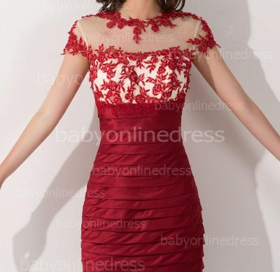 Elegant Short Sleeves Lace Applqieus Short Prom Dress On Sale_2