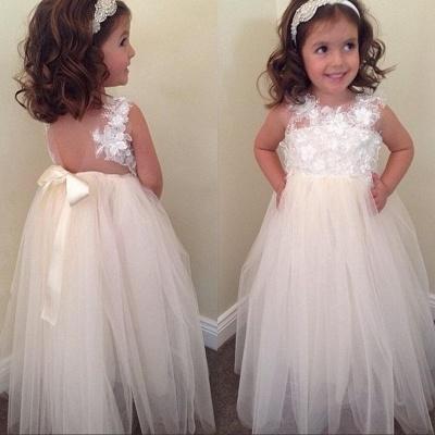 Bowknot Cute A-line Floral-Appliques Floor-Length Flower-Girl-Dresses_3