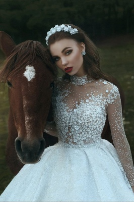 High Neck Appliques Sparkly Beads Sequins Wedding Dresses 2019 | Long Sleeve Princess Ball Gown Bridal Dresses Luxury_4