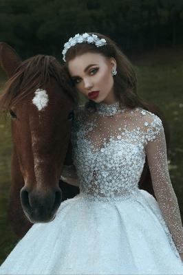 High Neck Applikationen Glitzernde Perlen Pailletten Brautkleider 2021 | Langarm Prinzessin Ballkleid Brautkleider Luxus_4
