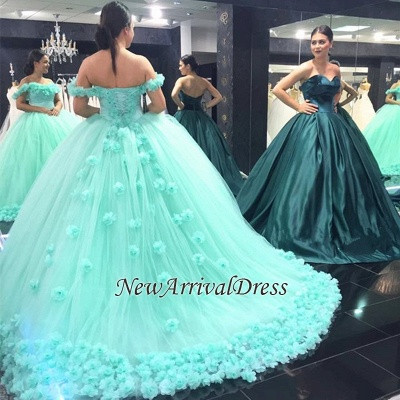 Mint-Green Off-The-Shoulder Ball-Gown Rose-Flowers Cloud Prom Dresses_3