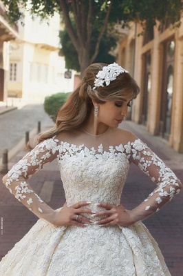 See Through Tulle Appliques Ivory Wedding Dresses | Long Sleeve Bridal Gowns with Cathedral Train_3