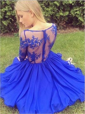 Newest Lace Royal Blue Short Long Sleeve Homecoming Dress_3