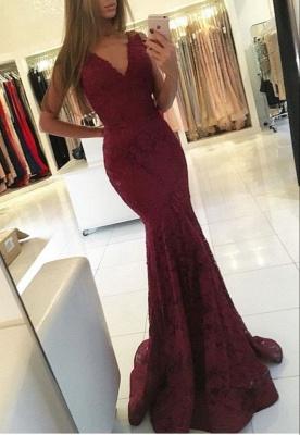 Mermaid Lace Sweep-Train Newest V-neck Sleeveless Prom Dress_2