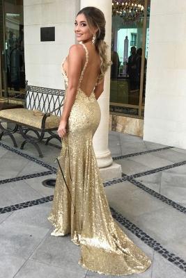 Sexy Sequined Mermaid Sleeveless Prom Dress   Gold Prom Dress_4