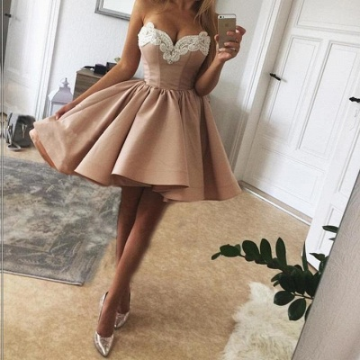 Delicate Lace Sweetheart Sleeveless Homecoming Dress   Short Party Gown_3