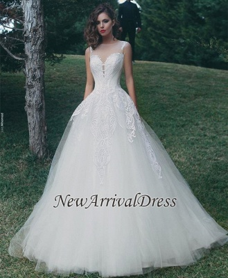 Tulle A-Line Appliques Sleeveless Glamorous Wedding Dresses Cheap Online_1