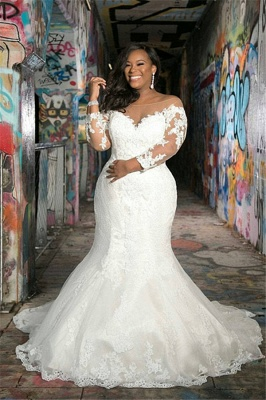 Off The Shoulder Plus Size Appliques Wedding Dresses | Sheer Tulle Cheap Memaid Bridal Gowns_1