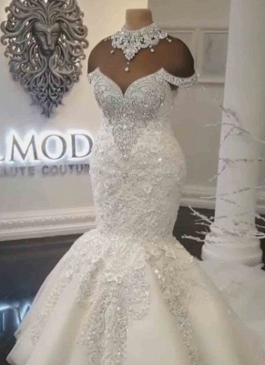 Luxury Crystals Mermaid Wedding Dresses | Sexy Off The Shoulder Lace Appliques Bridal Gowns_2