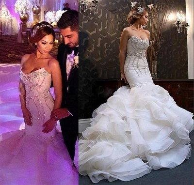 New Arrival Mermaid Sweetheart Wedding Dreses | Sexy Strapless Crystals Ruffles Bridal Gowns_3