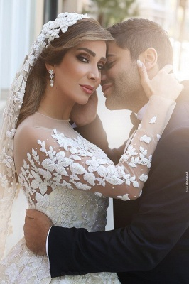 See Through Tulle Appliques Ivory Wedding Dresses | Long Sleeve Bridal Gowns with Cathedral Train_4