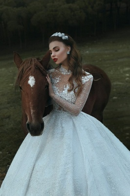 High Neck Appliques Sparkly Beads Sequins Wedding Dresses 2019 | Long Sleeve Princess Ball Gown Bridal Dresses Luxury_1