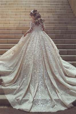 See Through Tulle Appliques Ivory Wedding Dresses | Long Sleeve Bridal Gowns with Cathedral Train_2