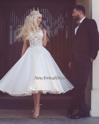 Off The Shoulder Wedding Dresses Short | Lace Appliques Tea Length Bridal Gowns Cheap_1
