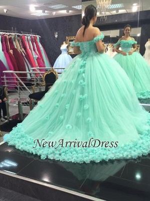 Mint-Green Off-The-Shoulder Ball-Gown Rose-Flowers Cloud Prom Dresses_4