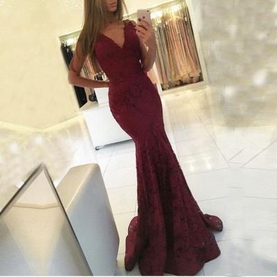 Mermaid Lace Sweep-Train Newest V-neck Sleeveless Prom Dress_3
