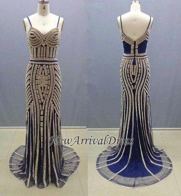 Mermaid Spaghetti-Straps Zipper Glamorous Crystal Prom Dress_3