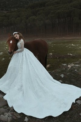 Appliques col haut paillettes perles robes de mariée 2020 | Manches longues princesse robe de bal robes de mariée de luxe_3