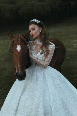Appliques col haut paillettes perles robes de mariée 2020 | Manches longues princesse robe de bal robes de mariée de luxe_1