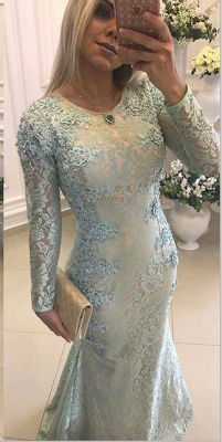 Crew Sweep-train Long Sleeves Lace Beads Appliques Mermaid Prom Dresses