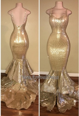 Gold Spaghetti Straps Layers-Train Sequins Mermaid Shiny Long Prom Dresses Cheap_1