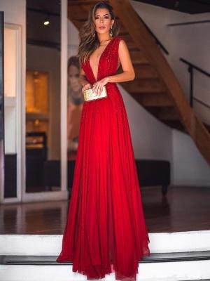 Sexy  Deep V-Neck Beading Evening Dresses | Sleeveless Chiffon Long Prom Dresses_1