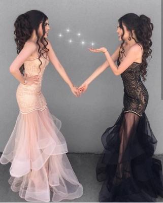 Sexy Sheath V-neck Spaghetti Straps Prom Dress | Tulle See Through Skirt Evening Dress_3