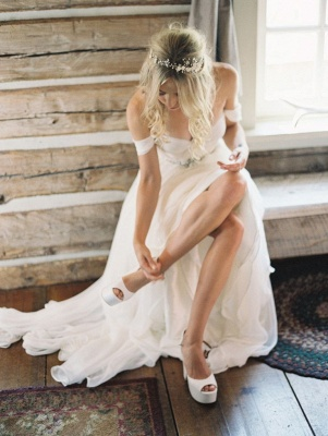Off The Shoulder Ivory Chiffon Wedding Dresses | Summer Beach Bridal Gowns with Crystals Sash_1