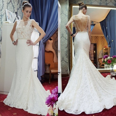 Gorgeous Mermaid Backless New Arrival Sleeveless Wedding Dress Cheap_5