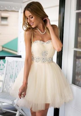 Sweetheart Crystals Short Homecoming Dresses Elegant Graduation Dresses_1