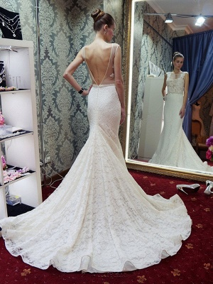 Gorgeous Mermaid Backless New Arrival Sleeveless Wedding Dress Cheap_3