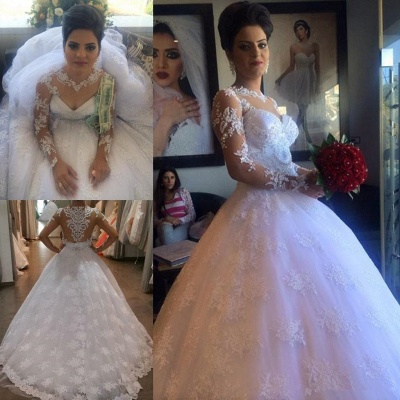 Long Sleeve Elegant Lace Appliques Ball Gown Wedding Dresses Cheap with Court Train_5