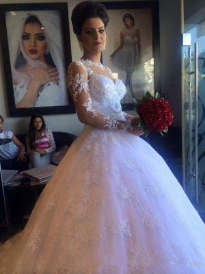 Long Sleeve Elegant Lace Appliques Ball Gown Wedding Dresses Cheap with Court Train_2