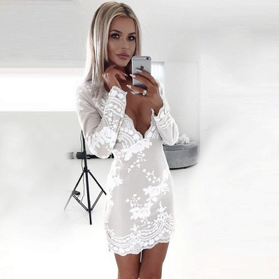 Newest Lace White Long Sleeve Homecoming Dress | Bodycon Short Formal Dress_4