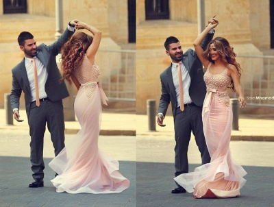 Pink Mermaid Prom Dresses Sleeveless Pearls with Bow Sash Formal Evening Gowns_3