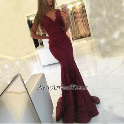 Mermaid Lace Sweep-Train Newest V-neck Sleeveless Prom Dress_1