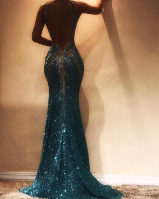 Stunning Sequined Bodycon Lace Sleeveless Evening Dress | Spaghetti Strap Evening Gown_3