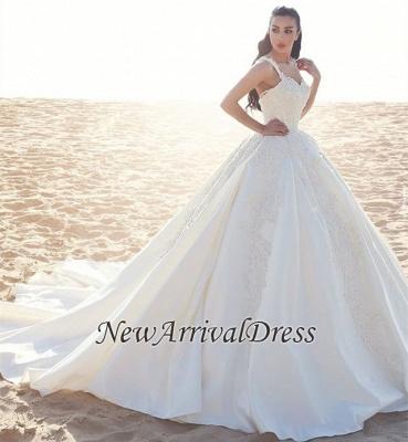 Sleeveless Satin Elegant Straps Appliques Ball Gown Wedding Dresses Cheap Online_1
