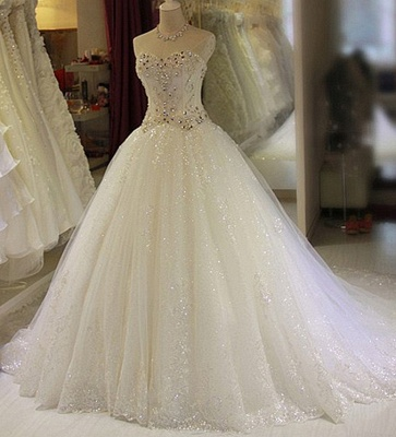 Sparkling Beaded Wedding Dresses | Sweetheart Sleeveless Lace Lace Appliques Bridal Dresses_1