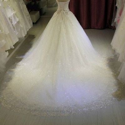 Sparkling Beaded Wedding Dresses | Sweetheart Sleeveless Lace Lace Appliques Bridal Dresses_3